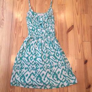 LOFT Green and Cream Ikat Dress
